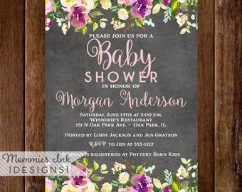 Chalkboard Invitation, Floral Watercolor Bridal Shower Invitation, Shower Invite, Watercolor Invitation,  Rustic Invitation, Purple Flower