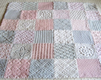 "Heirloom Quality Custom Made - Vintage Chenille Baby or Lap Quilt - ""Clouds of Pink and Grey"""