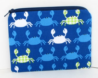 Don't Be Crabby, Small Zipper Pouch, Blue Coin Purse