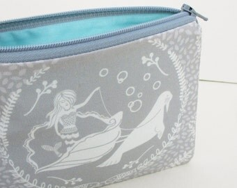 Small Zipper Pouch, Calypso Mermaid and Shell, Sea Lion, Pale Gray and Turquoise, Coin Purse