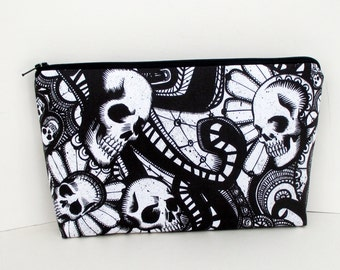 Zippered Make Up Bag, Catacomb Skulls, Black andWhite, Goth Cosmetic Bag Pouch