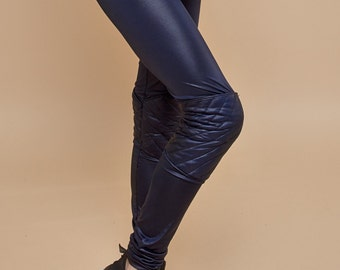 NEW! faux leather pants women - faux leather leggings women - dark blue glossy pants - womens leggings - blue tights - sexy leggings
