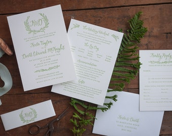 Letterpress wreath and calligraphy wedding invitation,