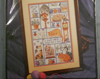 """New CATS, CATS, CATS Counted Cross Stitch Kit by Bucilla 1995 10"""" x 16"""" Unopened 41174"""