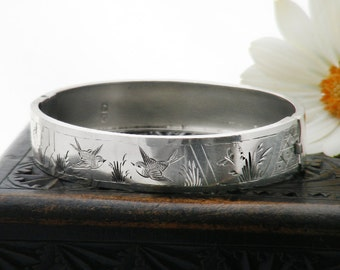 Victorian Bracelet Sterling Silver Bangle | 1884 English Hallmark | Hinged Antique Bracelet | Aesthetic Birds & Butterflies 'Something Old'