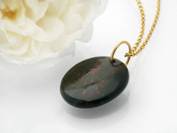 Antique Fob | Victorian Bloodstone Fob Pendant with Large 9ct Gold Ring | Dark Green Chalcedony Bloodstone Pendant - 45.5 Chain Included