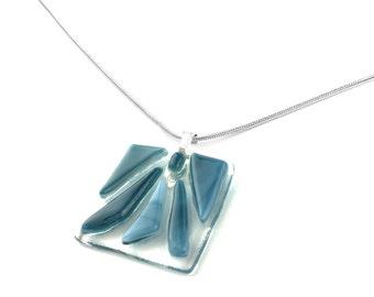 Pendant Necklace, Denim Blue, Chunky, Art Glass Jewelry