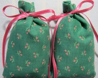 "Green 3""X2"" Sachet-'Teaberry Mint' Fragrance-Tiny Pink Flowers Sachet-Pink Ribbon-Herbal/Botanical Cotton Fabric Sachet-Cindy's Loft-251"