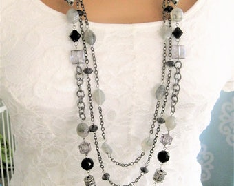 Long Black and Gray Beaded Necklace, Long Multi Strand Necklace, Gray Beaded Necklace, Black Beaded Necklace, Multistrand Necklace, N902