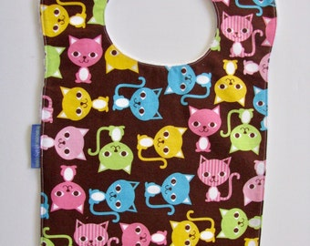 Bib, Large Bib, Colorful Cats, Toddler Bib, Baby Bib, Food Bib, Reversible Bib, Minky Bib, Oversized Bib, Ready to Ship, Baby Shower Gift
