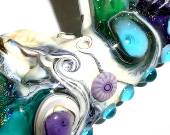 The Propeller...Handmade Lampwork Glass Sea Bead..Water summer sea beach silver blue aqua sky wave ocean Beatlebaby