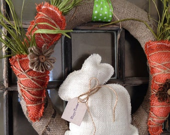 Burlap wreath, Easter wreath, Easter bunny wreath, spring decor, easter decorations, burlap wreath, burlap decor, shabby chic, bunny wreath,
