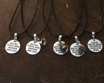 LOTR/The Hobbit Inspired Charm and Quote Necklaces