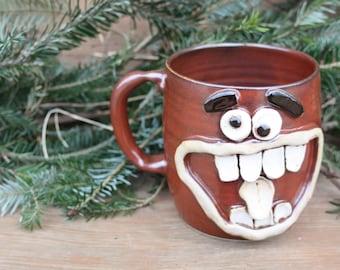 Big Handle Extra Large Red Coffee Cup. Big 24 Oz Smiley Face Ug Chug. Ceramic Beer Mug. Unique Man Husband Father Boyfriend Gift