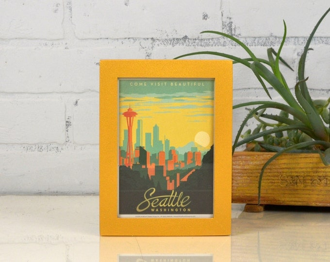 Seattle Washington Framed Postcard - Travel Gift Frame - Solid Shimmer Gold Finish Peewee Style - IN STOCK Same Day Shipping