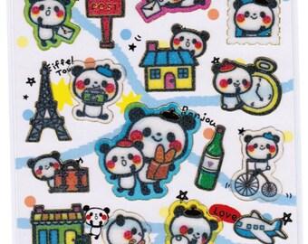 Shiny Gold Seal Kawaii Panda & Friends Sticker Sheet