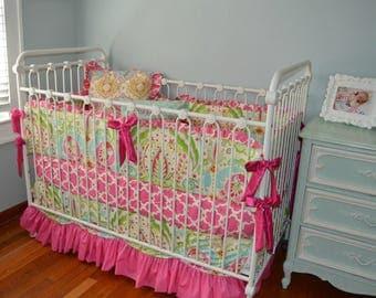 Scalloped Crib Bedding Set- Kumari Garden