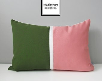 Pink & Green Pillow Cover, Modern Outdoor Pillow Cover, Decorative Color Block Pillow Cover, Olive White Blush Pink Sunbrella Cushion Cover