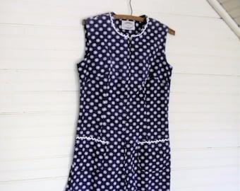 Vintage 1960s Romper, 60s Print Romper Blue and White Floral Romper, Size Small Romper, 1960s Sheath Dress, Summer Romper, Beach Romper,SM