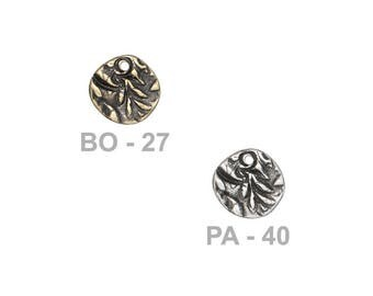TierraCast 12mm Jardin Charm - choose from brass oxide or antique pewter - reversible two-sided charm with abstract floral patterns