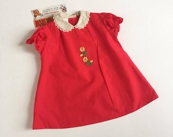 "Vintage 1960s Girls Size 1 Dress / A-Line Dress Deadstock / b26"" L17"" / Red Cotton Embroidery Applique Crochet Trim"