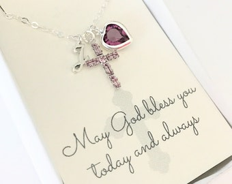 Crystal Cross Pendant - Cross Necklace - Amethyst - February - First Communion Gift - Gift for Goddaughter - Goddaughter Gift - N109