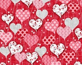 Dear Heart Valentines Day Fabric Heart Shaped Floating Patterned Balloons on Red Printed Newspaper StudioE