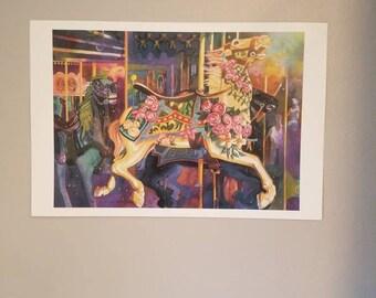 Grab the Ring. Print of Carousel horse in watercolor