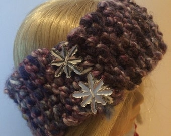Embellished Knitted Earband, 18 in doll size, Doll Accessories