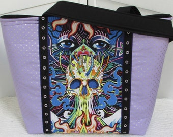 Purple Haze Large Tote Bag  , Alternative Fashion Skull Tote , Elevated Market bag , Mary Jane Shoulder Bag ,  Ready To Ship