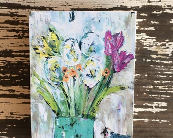 Flower art block,ACEO  Reproduction Mounted On Wood Block by Sunshine Girl Designs (2.5 x 3.5 Inches Print)flowers, teen art, dream big,