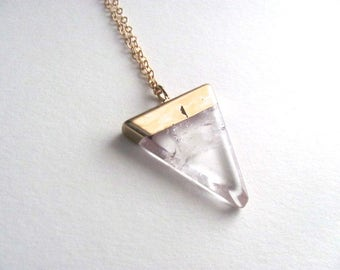 Cracked glass triangle pendant necklace on 14k gold plate chain, geometric bohemian jewelry