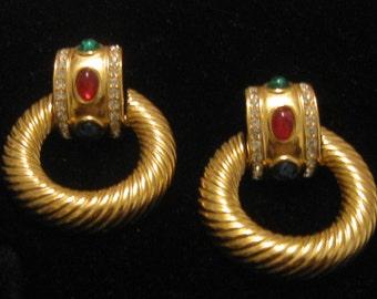 Eighties Nineties Door Knocker Earrings Rhinestone Gemstones Gold