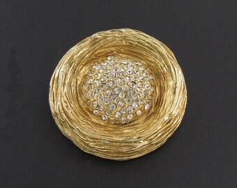 Benedikt NY Bird Nest Brooch, Rhinestone Brooch, Gold Brooch, Benedikt Brooch, Round Brooch