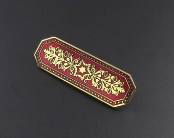 Metropolitan Museum of Art Brooch , MMA Brooch, Gold Brooch, MMA Jewelry, MMA Enameled Brooch, Red Brooch