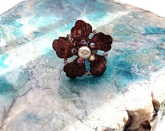 Copper Rhinestone Ring with Adjustable Band, 70s Retro Style Statement Ring, Boho Vibe