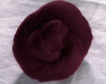 Merino Wool Top 100%, Needle Felting Wool, Wool Roving, Hand Spinning, Wine Purple, Merino Wool Felt, High Quality Soft Merino Wool, mw75
