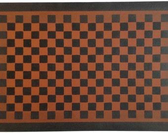 Canvas Floorcloth Black Checkerboard  Design on Tea (Barn Red) Floor Cloth Area Rug