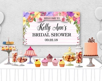 "Vinyl Welcome Banner, 36""x20"", 48""x30"", Spring Watercolor Florals, Bridal or Baby Shower, Engagement Party, Birthday Party, Table Backdrop"
