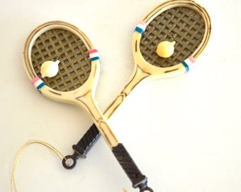 Vintage Tennis Racket Christmas Ornaments with Tennis Balls set of Two Tennis Lover