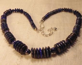 Vintage DTR Lapis Sterling Necklace Desert Rose Trading Co Lapis Necklace Lapis Beads Southwest Lapis Sterling Lapis Necklace
