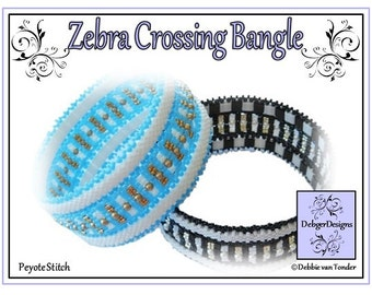 Beading Pattern, Tutorial, Bangle - ZEBRA CROSSING