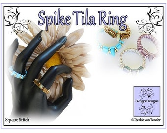 Beading Pattern, Tutorial, Ring - SPIKE TILA