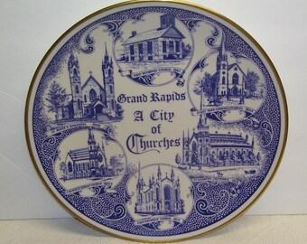 Grand Rapids, Mi, A City of Churches Souvenir Plate, First Reformed Church, First Park Congregational, St. Marks Episcopal, Gorham China