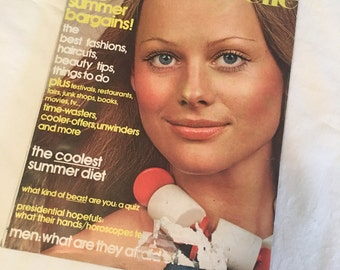 Mademoiselle magazine, June 1972, vintage fashion, ads, beauty tops, haircuts, summer diet, coppertone beauty, tan