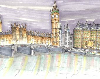 London Skyline Print, Big Ben, 8x10, Art Print, Gallery Wall, Wall Decor, Cityscape