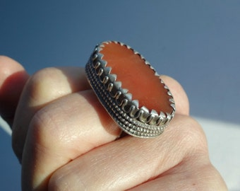 Antique Tribal Carnelian Silver Ring
