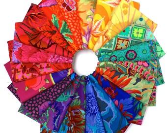 Kaffe Fassett Fat Quarter Fabric Bundle (20 FQs) in Rainbow Assortment (Philip Jacobs, Kaffe Collective, Brandon Mably, Westminster Fabric)