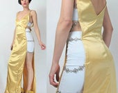 FLASH SALE 90s Sexy Clubbing Dress Club Kid Silky Gold Satin Cut Out Open Sides Dress Stretchy Bodycon Maxi Dress Floral Daisy Chain Straps