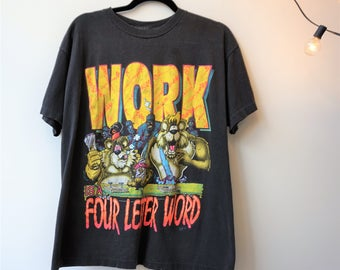 Work is A Four Letter Word Funny 80s 90s Tshirt Animals Neon Graphic Screen Printed Tee Faded Black Cotton Tee Construction Shirt (L) E986